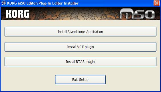 Installing the M50 Editor / Plug-In Editor 1 M50 Editor/Plug-In Editor Installer will appear.