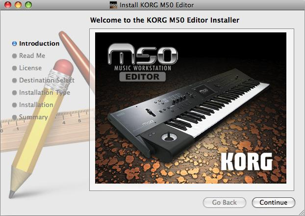 Installation in Mac OS X To install the M50 Editor and M50 Plug-In Editor into Mac OS X, use the following procedure.
