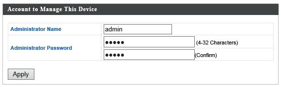 To change the administrator name and password for the browser based configuration interface, go to