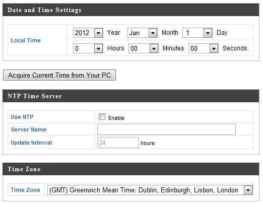 9. Set the correct time and time zone for your access point using the drop down menus.
