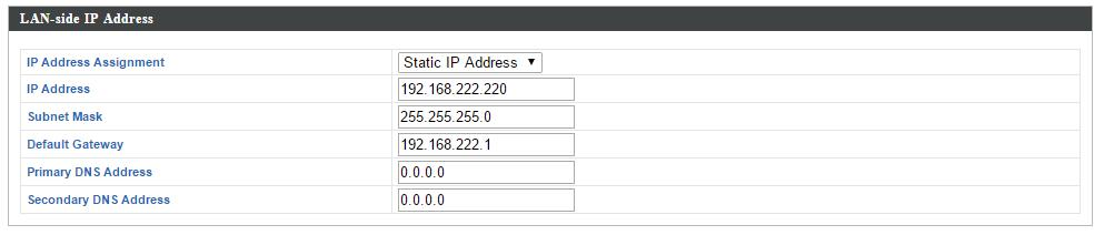 IV-6. Local Network IV-6-1. Network Settings IV-6-1-1. LAN-Side IP Address The LAN-side IP address page allows you to configure your AP Controller on your Local Area Network (LAN).