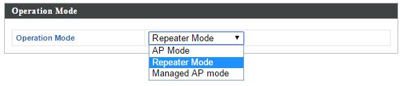 II-3. Repeater Mode When you set the operation mode to repeater mode, the AP will not get an IP address from the router/root AP.