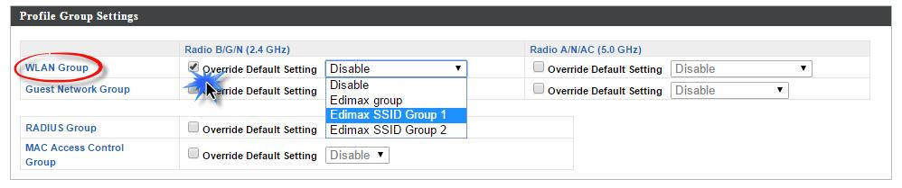 Scroll down to the Profile Group Settings panel and check the Override Group Settings box for WLAN