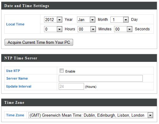 IV-4-2. Date and Time You can configure the time zone settings of your access point here. The date and time of the device can be configured manually or can be synchronized with a time server.