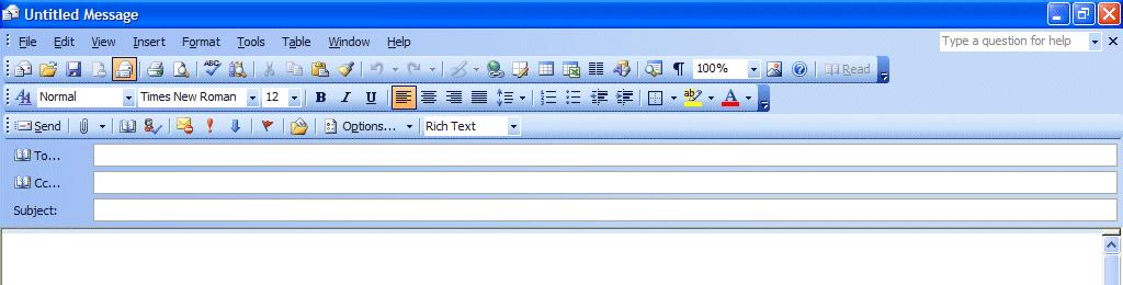 NCMail: Outlook 2003 Email User s Guide 13 Creating and sending a new e-mail message If you are in the Inbox and wish to send a new e-mail message to a person or group of persons click-on the New