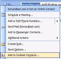 NCMail: Outlook 2003 Email User s Guide 17 To add the addresses in Contacts, to an e-mail message, simply repeat the procedure outlined in the Global Address List.