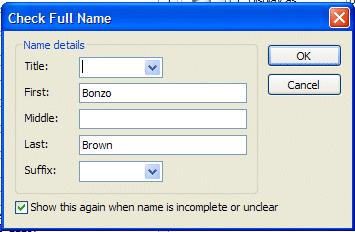 To change this to a logical full name click-on the Full Name button (as indicated by the arrow above).
