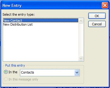 NCMail: Outlook 2003 Email User s Guide 21 A New Entry screen will appear. It should look similar to the one on the right.