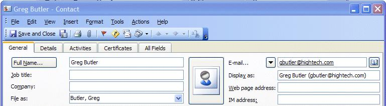 NCMail: Outlook 2003 Email User s Guide 22 When you have entered the information, your screen should look similar to the one below.