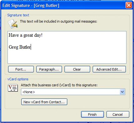 NCMail: Outlook 2003 Email User s Guide 36 When the Create New Signature screen appears, type a name for your signature in the area under - 1.