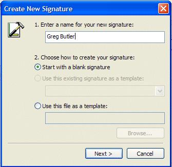 Choose how to create your signature as the default choice Start with a blank signature (see middle left arrow). Now click-on the Next Button (see lower left arrow).
