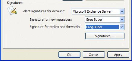NCMail: Outlook 2003 Email User s Guide 37 This will take you back to the Create Signature menu screen. Click OK. The bottom portion of your Options menu screen should look similar to the image below.