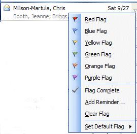 A flag list will appear as a drop-down menu. Click-on the flag color you desire.