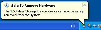 Left-click the [Safely Remove Hardware] icon on the taskbar. The message that appears with the [Safely Remove Hardware] icon may differ depending on the computer you are using. 2.