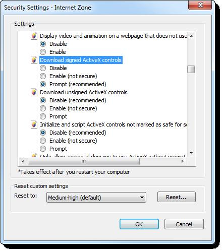 4. Confirm that Run ActiveX controls and plug-ins is