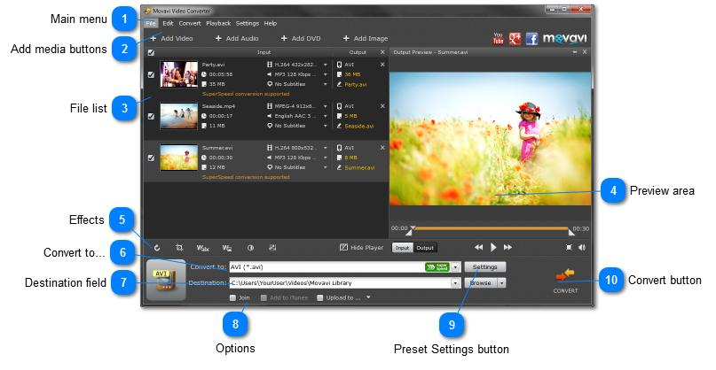 Movavi Video Converter Interface The main Movavi Video Converter window consists of the following elements: Main menu The main program menu contains various options and settings, most of which are
