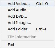 Adding Media for Conversion There are several ways of adding media files to the converter. Adding media files: Before converting media files, you will need to add them to the File List.
