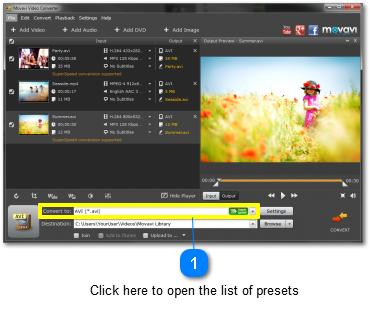 Choosing a Preset In Movavi Video Converter, you can choose a preset to specify what format you want to convert your media files into.