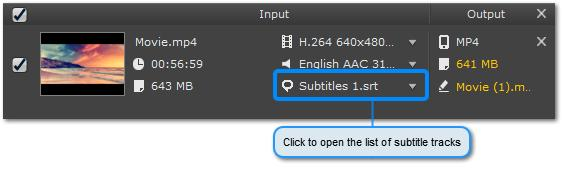 Open the Subtitle Panel Click the speech bubble icon Choosing Subtitle Tracks next to the file to open the list of available subtitles.