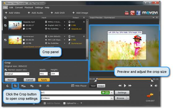 Cropping Video 1. Add the files you want to crop. Select a file from the list. You can select more than one video if you want to crop several videos in the same way. 2. Click the Crop button frame.