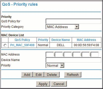 QoS for a MAC Address To create a QoS policy for traffic from a specific MAC address: 1. Open the QoS Setup screen, shown in Figure 4-4 on page 4-6. 2. Click Add Priority Rule. 3.