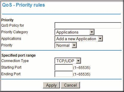2. Click Add Priority Rule. The QoS Priority Rules screen displays. Figure 4-5 3. In the Priority Category list, select either Applications or Online Gaming.