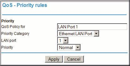 5. From the Priority drop-down list, select the priority that this traffic should receive relative to other applications and traffic when accessing the Internet.