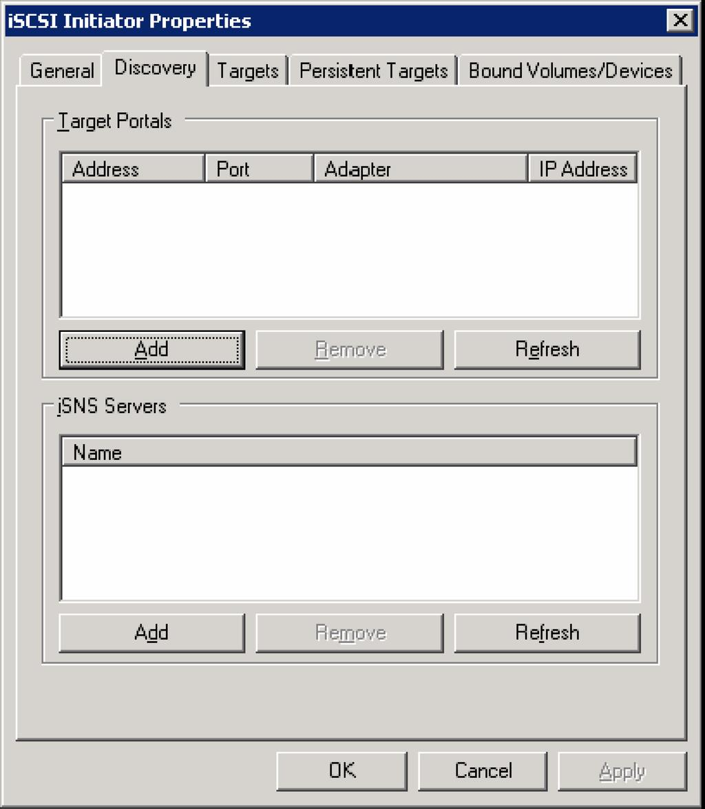 4. In the Microsoft Hyper-V failover cluster server, click the Discovery tab and the iscsi Initiator