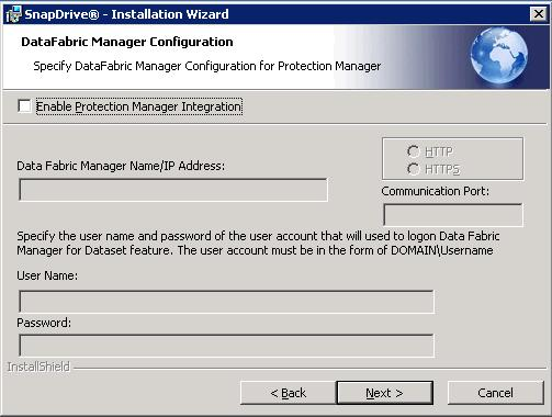 9. In the SnapDrive DataFabric Manager Configuration window (Figure 24), enable the protocol manager