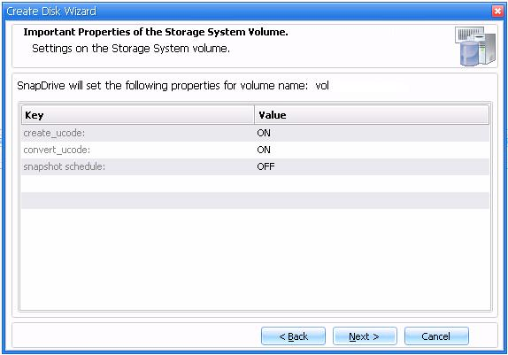 9. In the Storage System Volume Properties window (see Figure 33), accept defaults and click Next. Figure 33 Storage system volume properties window 10.