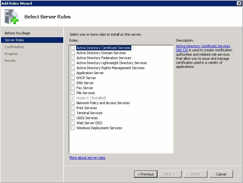 3. On the Select Server Roles page, click Hyper-V (Figure 39). Figure 39 Select Server Roles window 4.