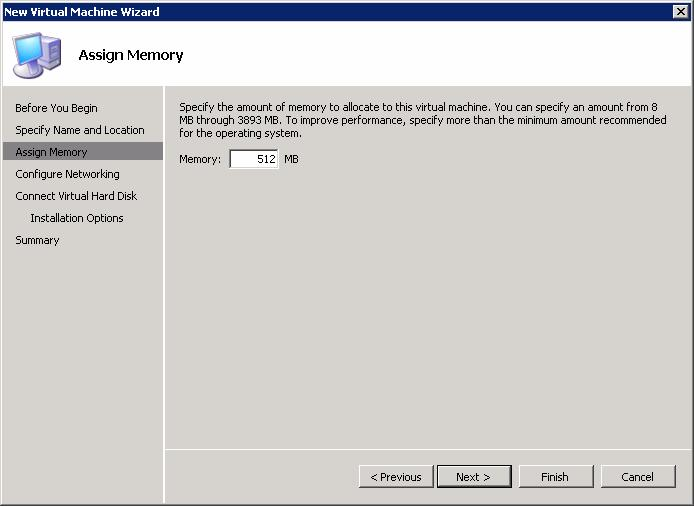 6. On the Assign Memory page (Figure 45), specify the amount of memory required for the operating system that will run