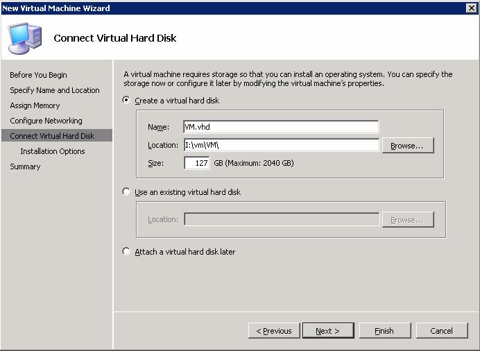 8. On the Connect Virtual Hard Disk page (Figure 47), click Create a virtual hard disk. If you want to change the name, type a new a name for the virtual hard disk.