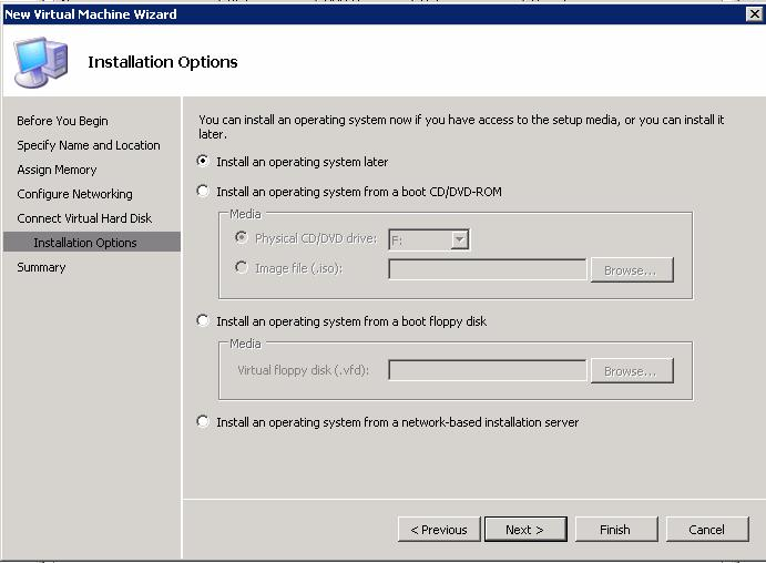 9. On the Installation Options page (Figure 48), click Install an operating system later, then click Finish.