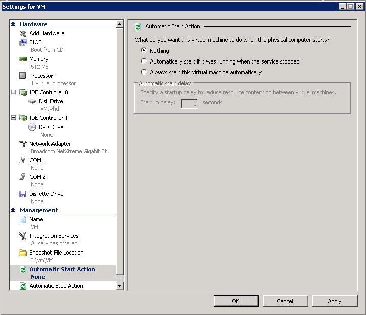 Reconfigure automatic start action for the virtual machine Automatic actions let you automatically manage the state of the virtual machine when the Hyper-V Virtual Machine Management service starts