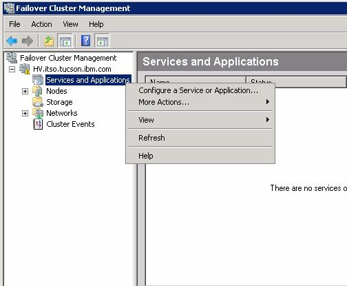 Make the virtual machine highly available To do this: 1. To open the failover cluster snap-in, click Start Administrative Tools Failover Cluster Management.