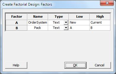 In this example, because you are performing a factorial design with two factors, you have only one option, a full factorial design with four experimental runs.