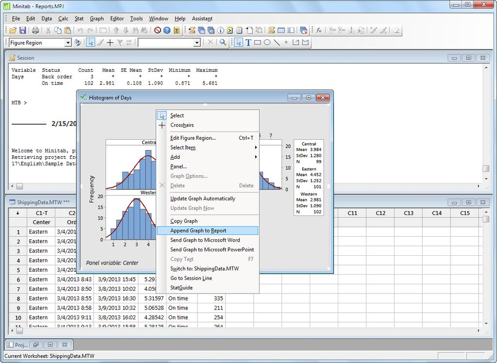 Generating a Report 2. Browse to C:\Program Files (x86)\minitab\minitab 17\English\Sample Data\Getting Started.