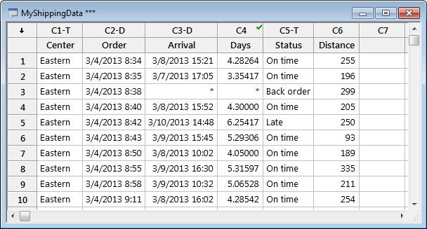 Tip For more information on formulas in columns, go to Formulas in the Minitab Help index.