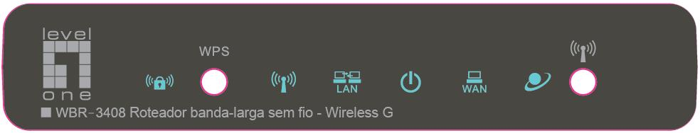 Introduction Physical Details Front Panel EN PT Front Panel WPS Button Wireless Security Wireless LAN Power WAN Internet Push the WPS button on the WBR-3408, and also on your other wireless device to