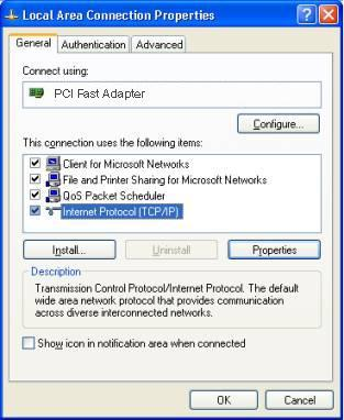 PC Configuration Checking TCP/IP Settings - Windows XP 1. Select Control Panel - Network Connection. 2. Right click the Local Area Connection and choose Properties.