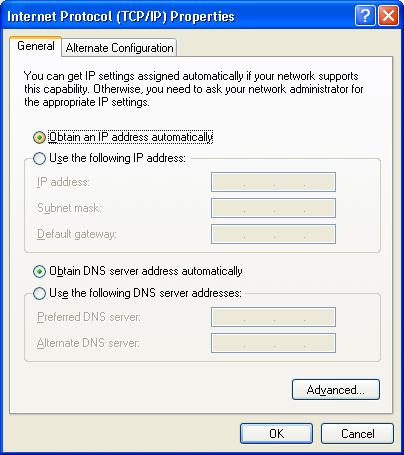 PC Configuration TCP/IP Properties (Windows XP) 5. Ensure your TCP/IP settings are correct. Using DHCP To use DHCP, select the radio button Obtain an IP Address automatically.
