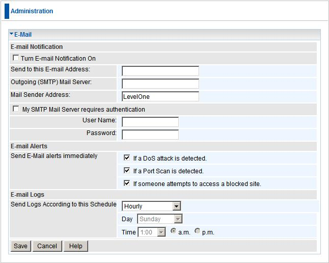 Advanced Administration E-Mail This screen allows you to E-mail Logs and Alerts. A sample screen is shown below.