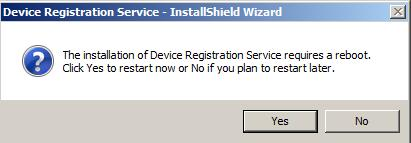 3. Click Yes if the installation wizard prompts to reboot the machine.