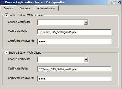 On the Security tab, enable SSL on the web service or the web client: To create a self-signed certificate: a) Select Enable SSL on Web Service or