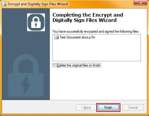 The Completing the Wizard page displays with a success message and lists the secured file(s). Note: The files have a.p7m extension indicating that they are secure. 7.