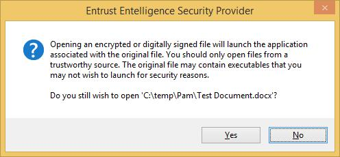 Note: The remaining steps apply if the option to Decrypt, Verify and Open digitally secured file(s) (in Step 4) was