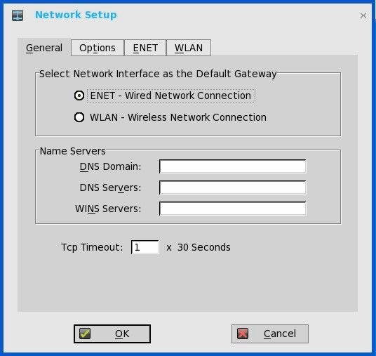 2. Click the General tab, and use the following guidelines: a. To set the default gateway, select the type of network interface from the available options. 1.