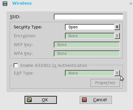 d. Properties Use this option to view and configure the authentication properties of a SSID connection that is displayed in the list. e.