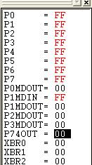 2. In the debug window, change the value of P74OUT to 0x00. This value turns off all four LEDs on P5[7:4]. Figure 10. Debug Window 3.